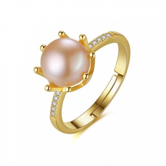 Yellow Gold Pearl Ring Eight Paws Adjustable Wedding Rings