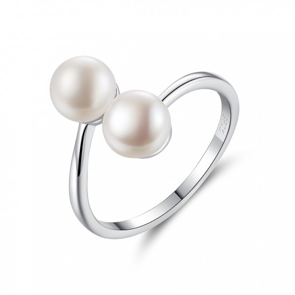 Double Pearl Ring Sterling Silver Adjustable Rings