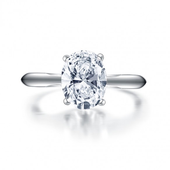Sterling Silver Solitaire Engagement Rings Oval Sona Diamond
