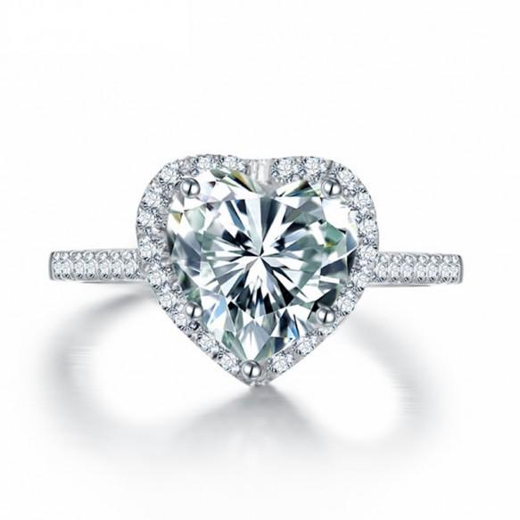 Heart Shaped Bridal Rings Sona Diamond in Sterling Silver