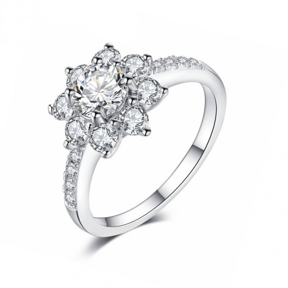 Flower Engagement Ring Sona Diamond in 925 Sterling Silver