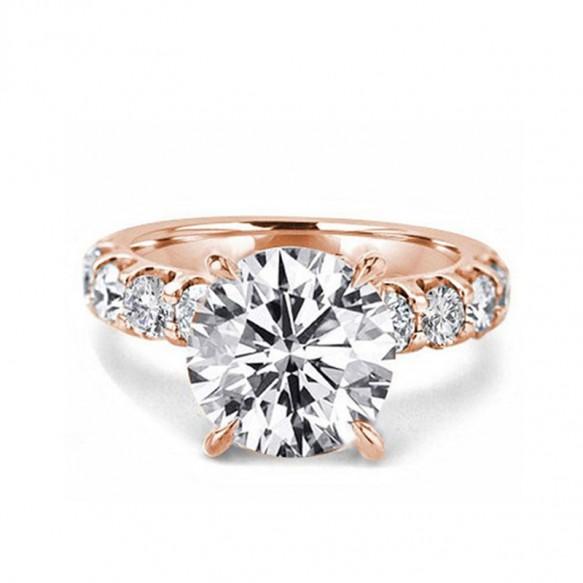 Rose Gold Wedding Rings 3 Carat Sona Diamond Ring in Sterling Silver
