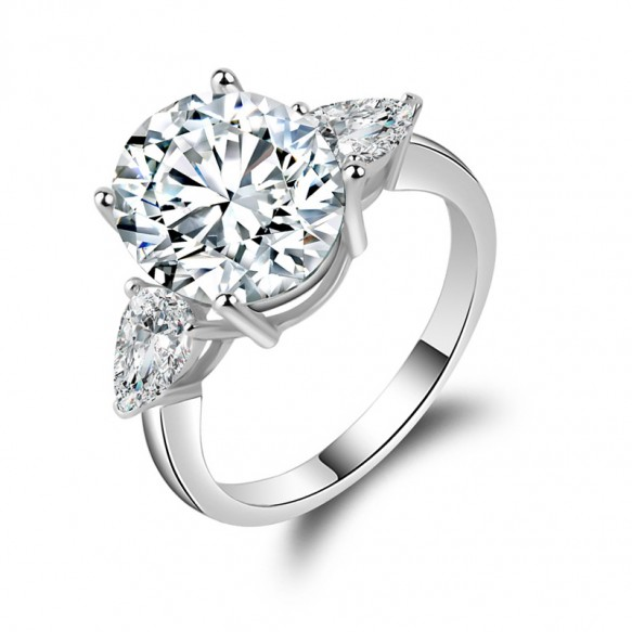Unique Sterling Silver Sona Engagement Rings Cushion Cut for her