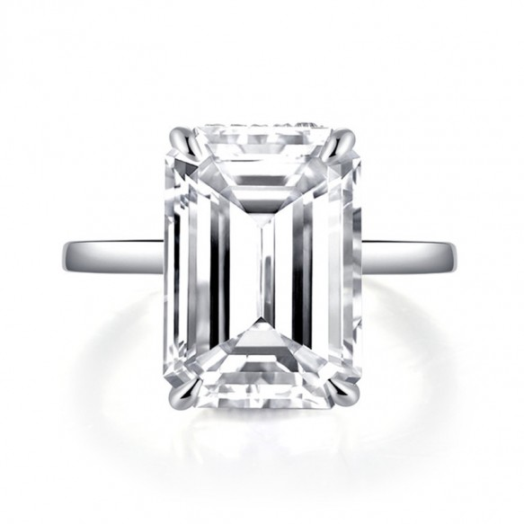 Emerald Cut Sona Solitaire Diamond Engagement Rings