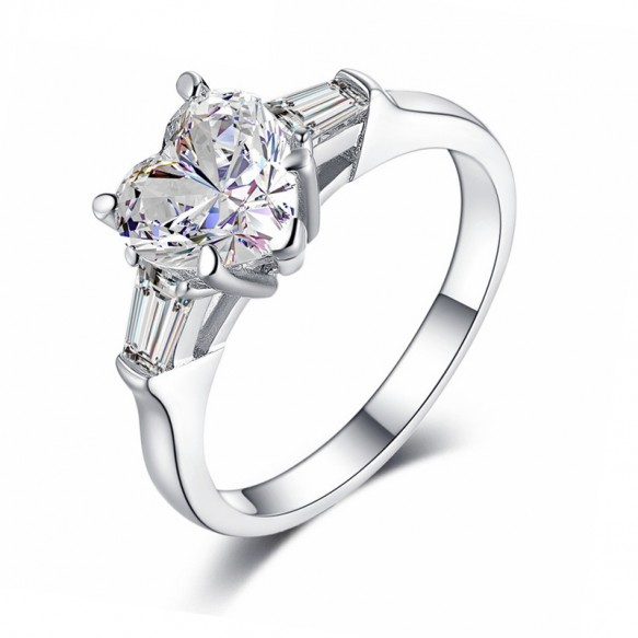 Sona Diamond Ring Heart Shaped 2 Carat Sterling Silver