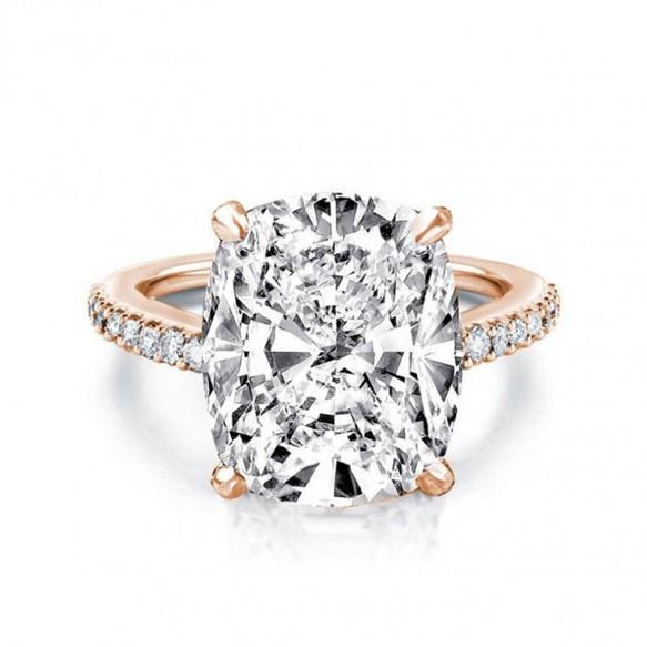 Rose Gold Sona Diamond Engagement Rings Cushion Cut 6 Carat