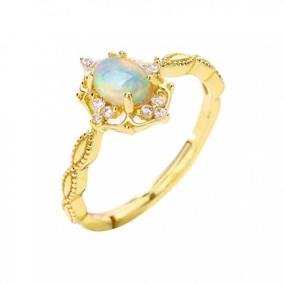 Vintage Opal Ring Adjustable Promise Ring for her