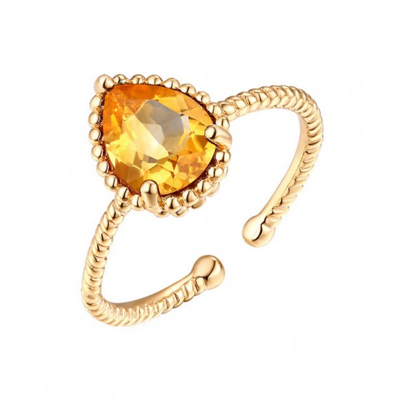 Citrine Sterling Silver Adjustable Rings Vintage Wedding Rings for her