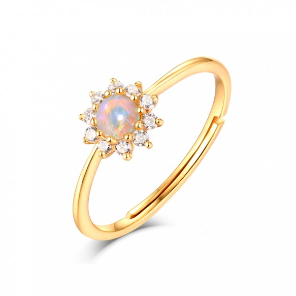 Natural Opal Sunflower Rings Adjustable in Sterling Silver