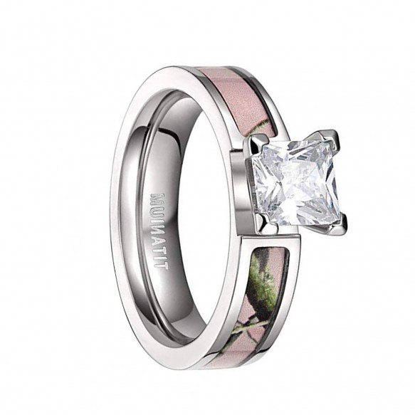 Womens Titanium Pink Camo Wedding Rings with CZ Stone