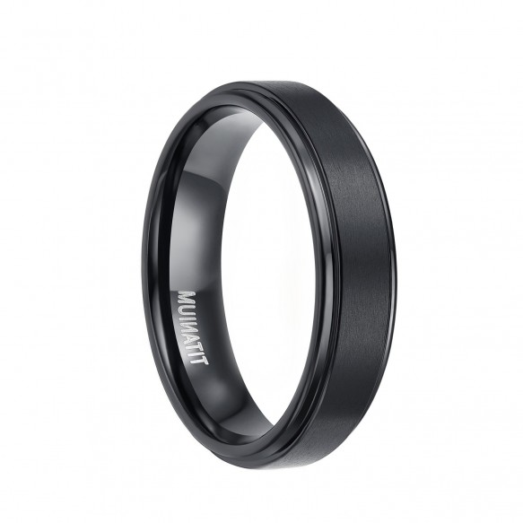 Mens Black Titanium Wedding Rings with Stepped Edge