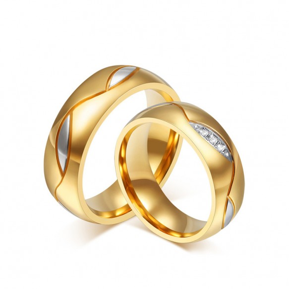 Classic Stainless/Titanium Steel Promise Ring Couple Sets