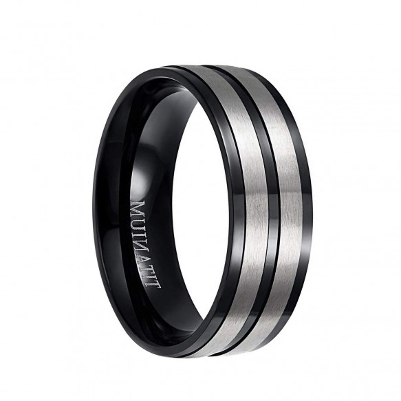 Mens Black and Silver Titanium Wedding Bands 8mm