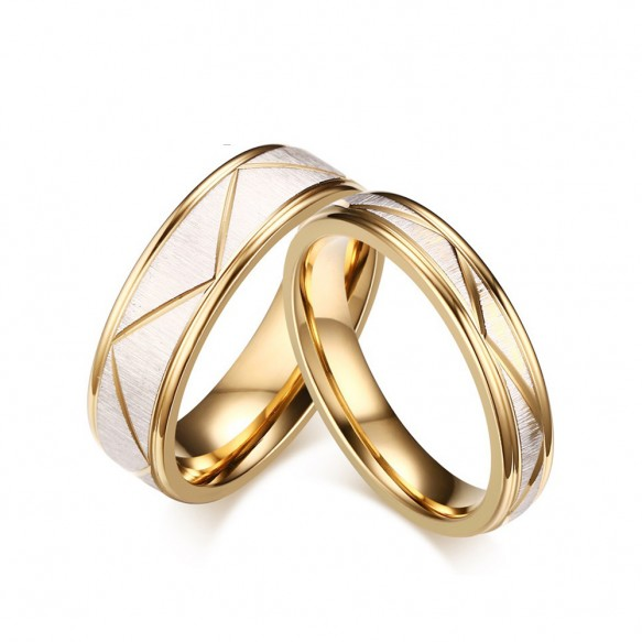 Matte Finish with Gold Polished Edge Stainless/Titanium Steel Couple Rings
