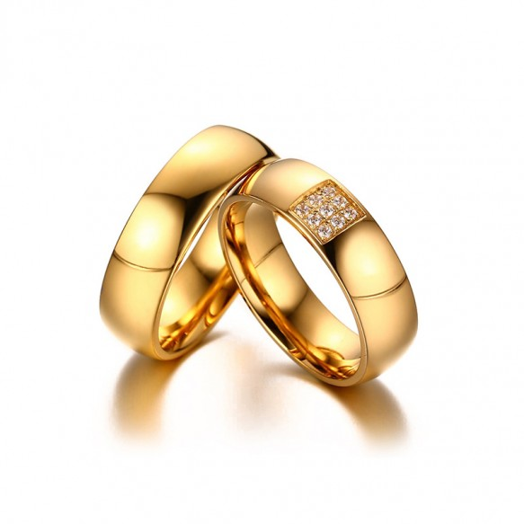 6mm Simple Promise Rings for Couples in Stainless/Titanium Steel