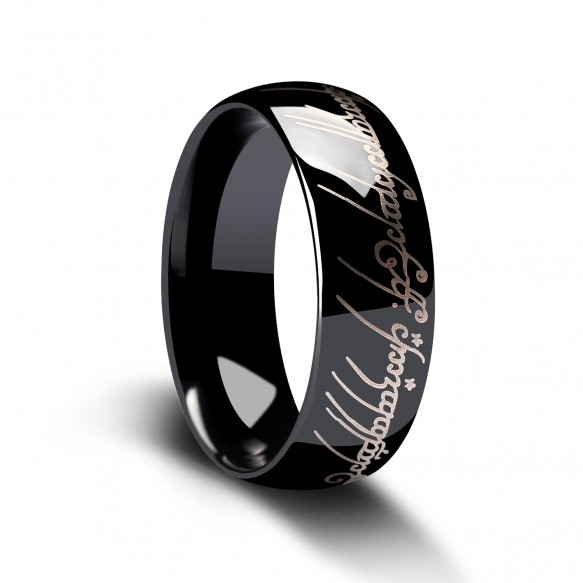 Lord of the Rings Tungsten Ring Black and White High Polished