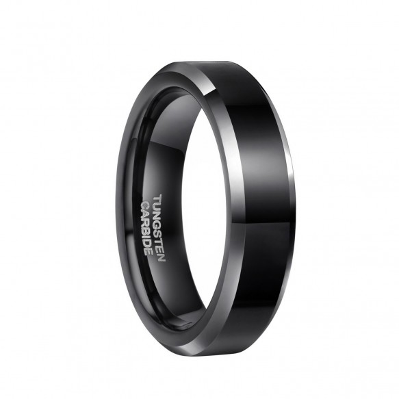 Black Tungsten Rings for Men High Polished with Beveled Edge
