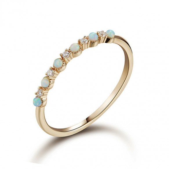 Antique Opal and Cubic Zirconia Rings 925 Sterling Silver