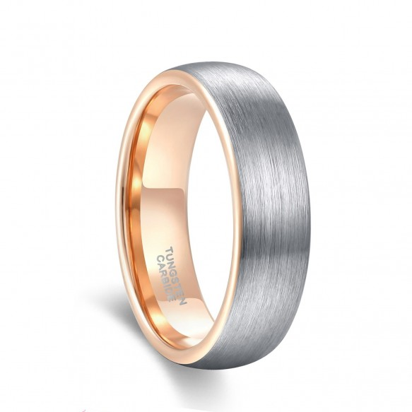 Tungsten and Rose Gold Wedding Band Two Tone Brushed