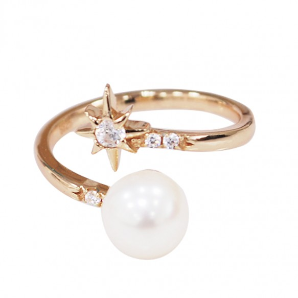 Simple Pearl Adjustable Sterling Silver Rings for Girls