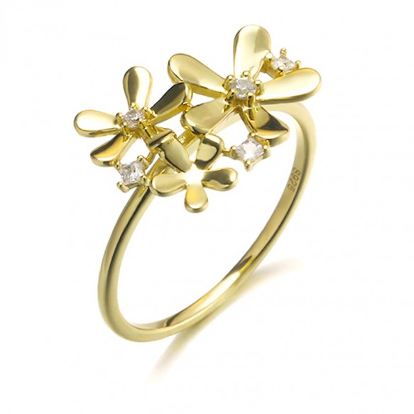 Sterling Silver Flower Ring Unique Design for her