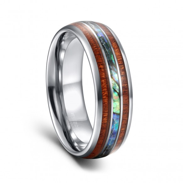 Tungsten Engagement Rings with Abalone Shell & Wood Inlaid