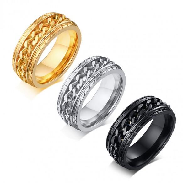 Stainless Steel Spinner Rings Gold/Silver/Black 8mm