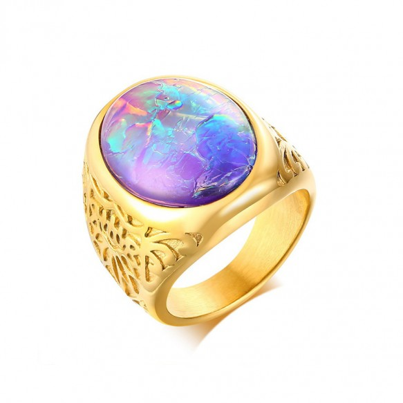 Mens Opal Wedding Bands in Stainless Steel