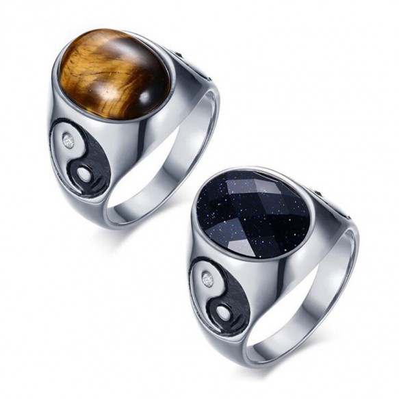 Stainless Steel Mens Rings Tai Chi Gossip Band Rings