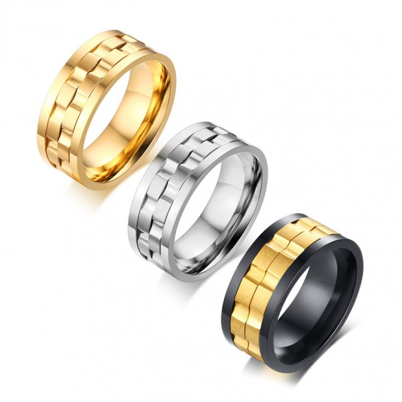Gold Rotatable Stainless Steel Ring for him 9mm