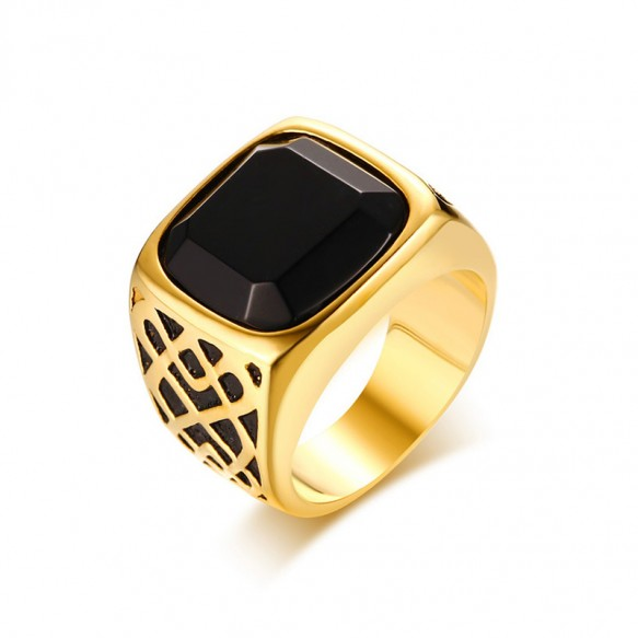 Stainless Steel Black Agate Ring with Gold Plated