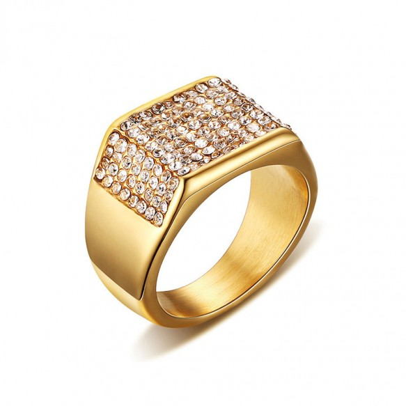 Mens Gold Stainless Steel Rings with Crystal