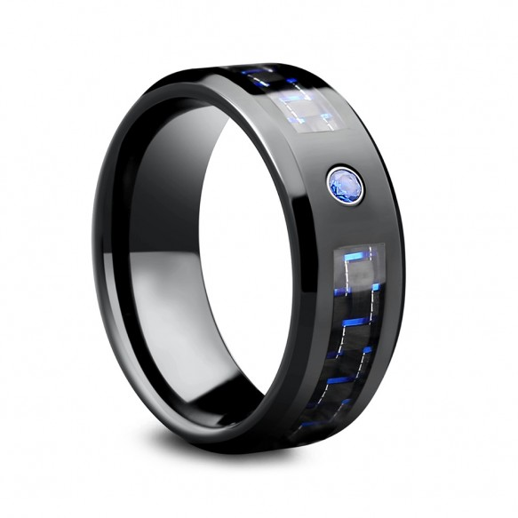 Mens Black and Blue Carbon Fiber Tungsten Wedding Bands with CZ