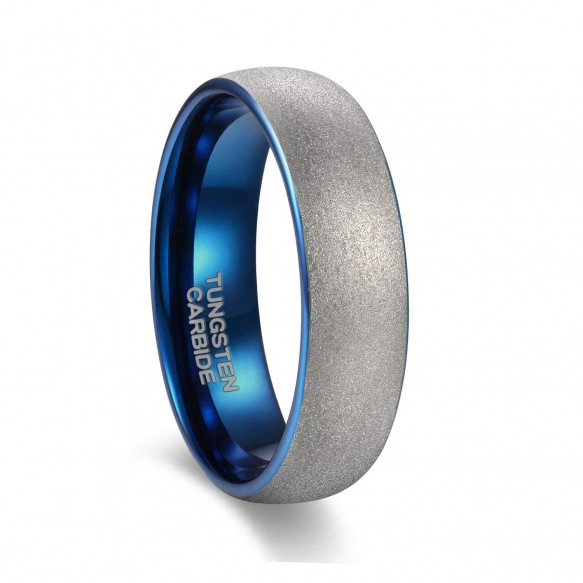 Matte Silver Tungsten Rings Blue Round Domed