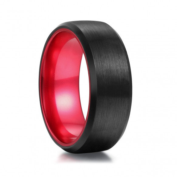 Black Tungsten Rings Brushed Finish with Red Inner