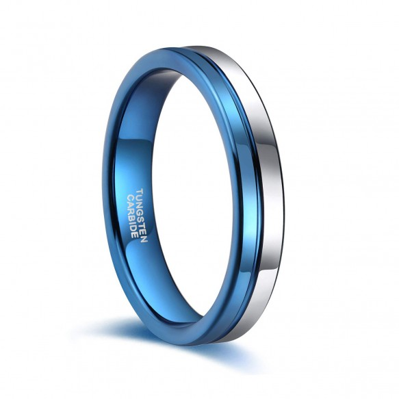 Blue Tungsten Wedding Bands Two Tone Engagement Rings