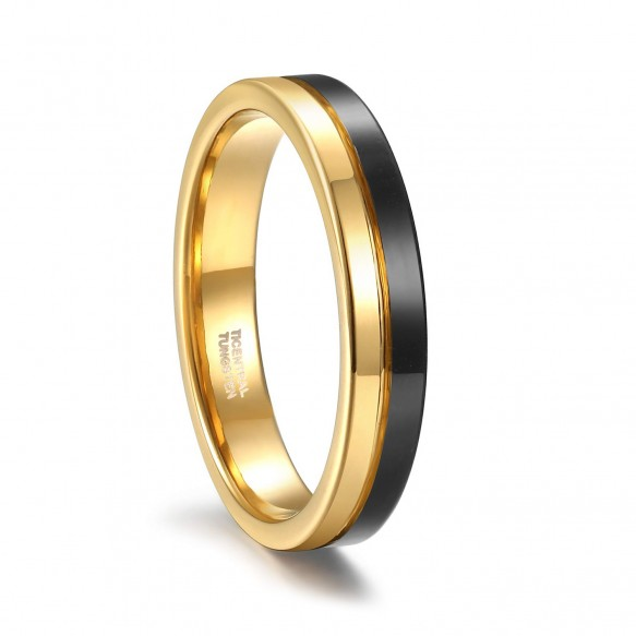 Tungsten Mens Rings Two Tone Gold and Black Rings