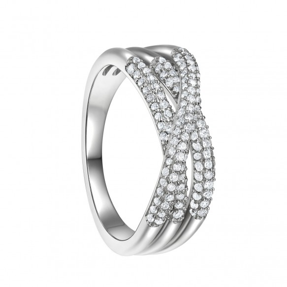 Criss Cross Engagement Ring Sterling Silver Promise Rings for her