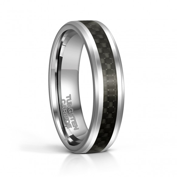 Mens Wedding Bands Tungsten with Black Carbon Fiber