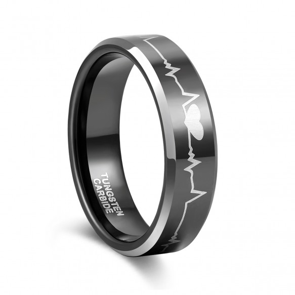Simple Black Heartbeat Promise Rings 6mm 8mm