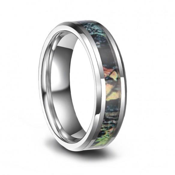 Tungsten Men Wedding Rings Antique Camo Style