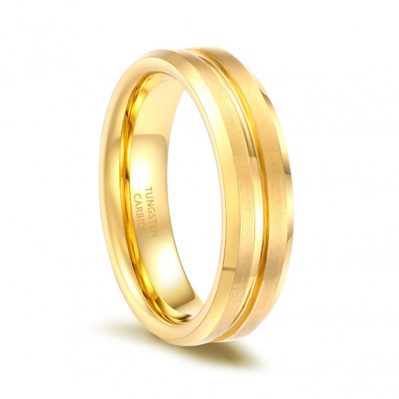 Mens Gold Rings Tungsten Jewelry with Grooved Comfort Fit