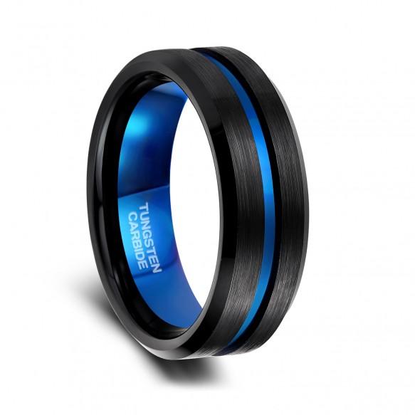 Black Wedding Bands for Men Blue Steel Inlay