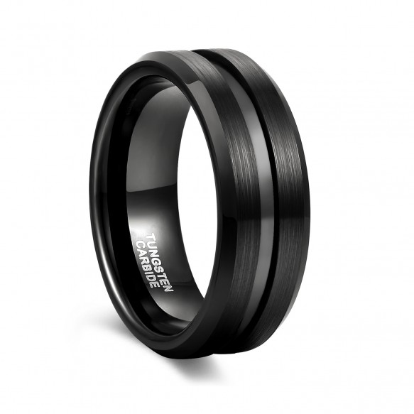 Black Rings for Men with Thin Groove Casual Rings