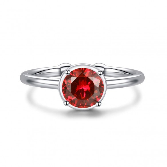 Birthstone Ring Adjustable Sterling Silver Wedding Bands with CZ
