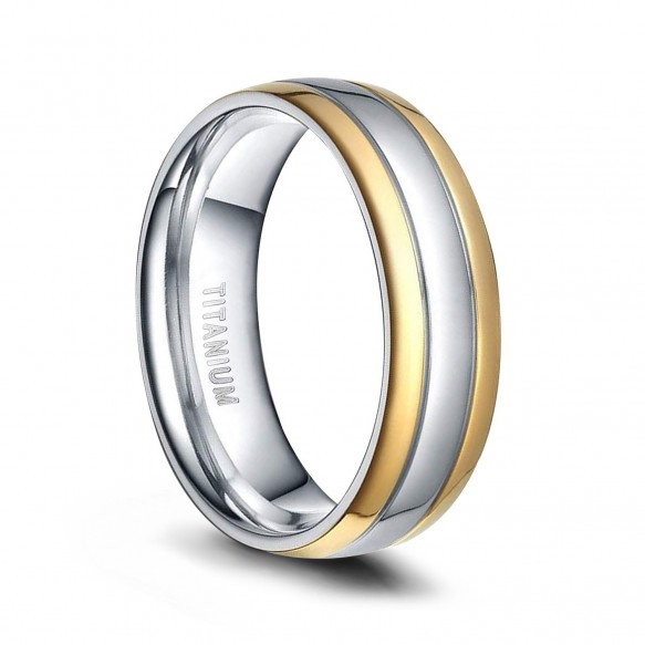 Mens Titanium Wedding Bands Gold and Silver Two Tone Rings