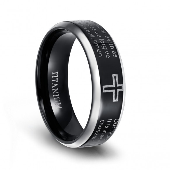 Titanium Cross Rings Black with Beveled Edge