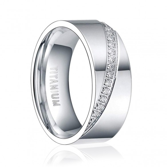 Silver His and Hers Titanium Wedding Bands with CZ Stones