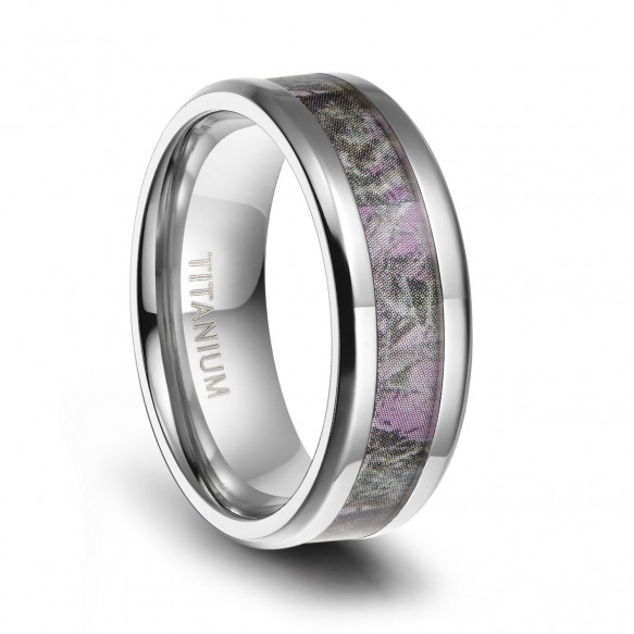 Titanium Camo Rings Pink Engagement Rings for her