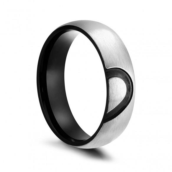 Black Titanium Wedding Bands Half Heart Design for him